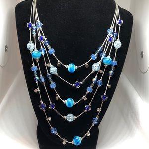 INC Silver Blue Strand Necklace     3J50